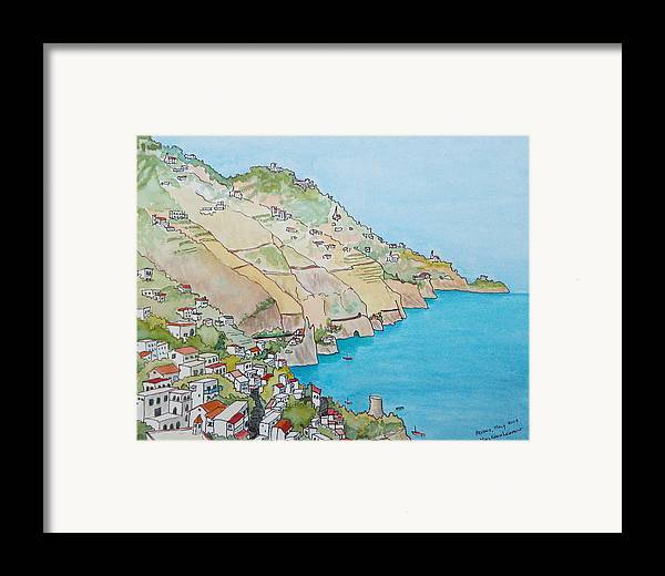 Landscape Framed Print featuring the painting Amalfi Coast Praiano Italy by Mary Ellen Mueller Legault