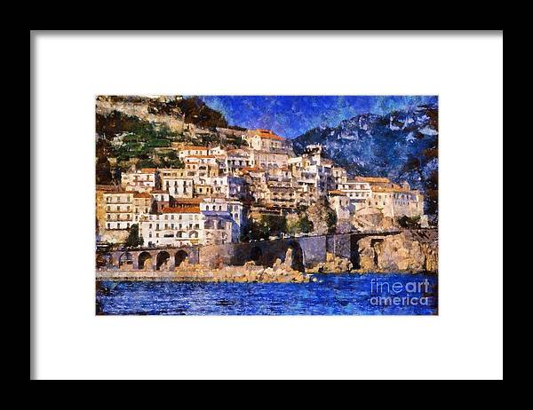 Amalfi Framed Print featuring the painting Amalfi Town In Italy by George Atsametakis