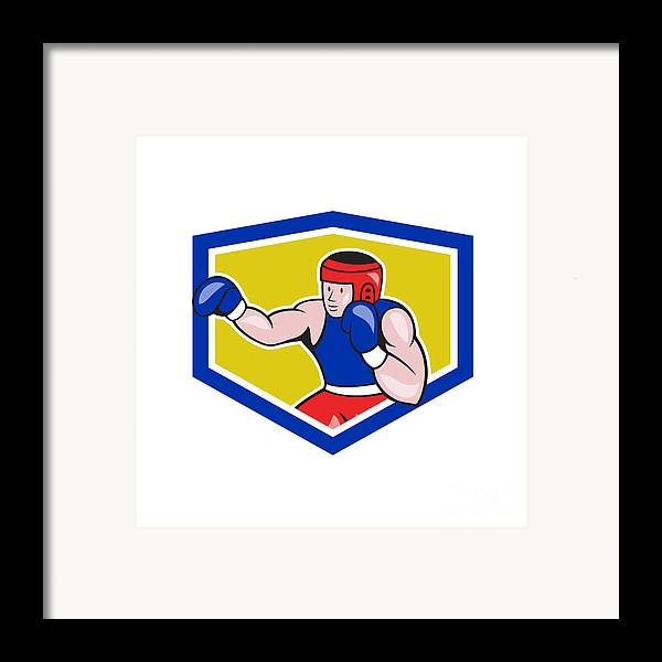 Amateur Framed Print featuring the digital art Amateur Boxer Boxing Shield Cartoon by Aloysius Patrimonio