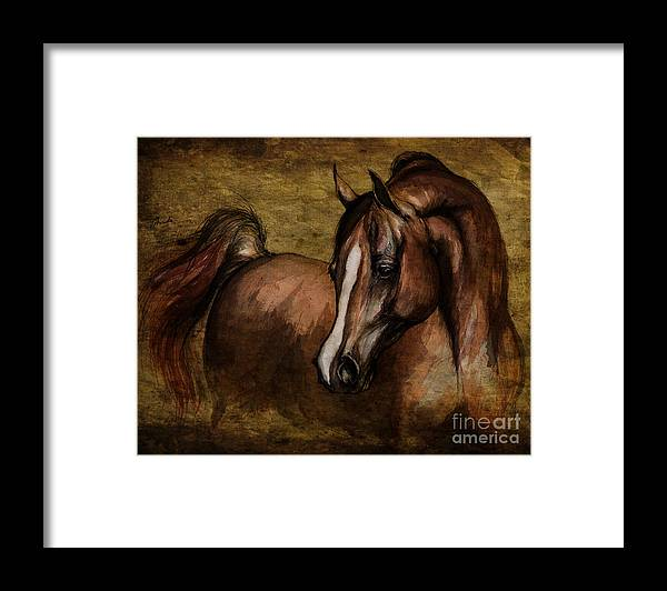 Horse Framed Print featuring the painting Amber by Angel Ciesniarska