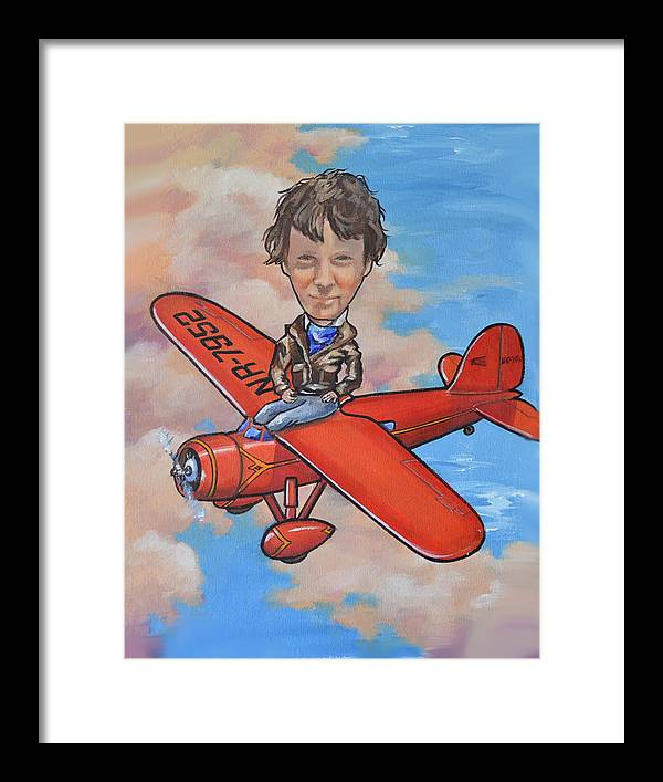 American Airmen Framed Print featuring the painting Amelia Earhart by Murray McLeod