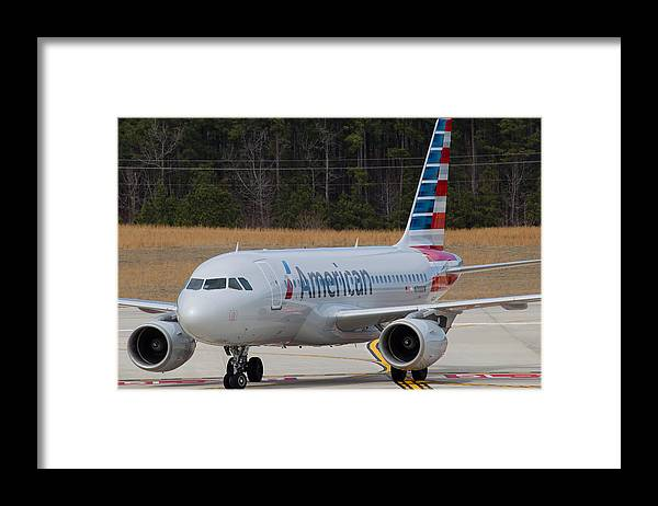 Framed Print featuring the photograph American Airlines A319 by Richard Jack-James