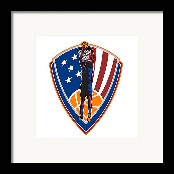 American Framed Print featuring the digital art American Basketball Player Dunk Ball Shield Retro by Aloysius Patrimonio