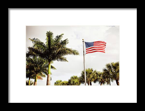 Tranquility Framed Print featuring the photograph American Flag Flying Amongst Palm Trees by Ron Levine