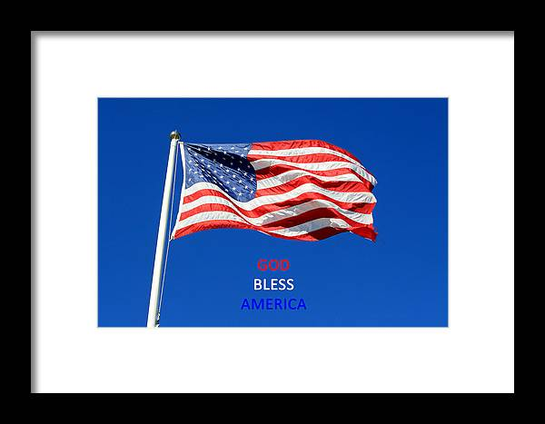 American Flag Framed Print featuring the photograph American Flag - God Bless America by Barbara West