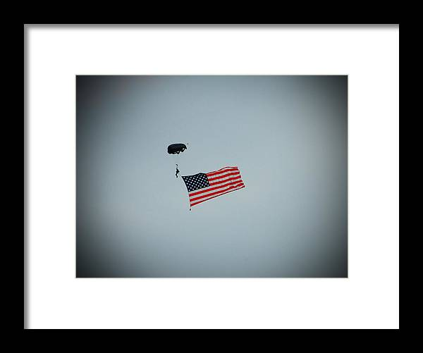 American Framed Print featuring the photograph American Flag In The Sky by Aimee L Maher ALM GALLERY