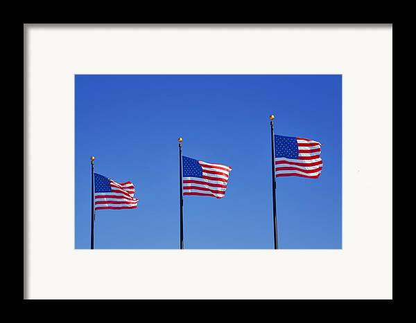 Three Framed Print featuring the photograph American Flags - Navy Pier Chicago by Christine Till