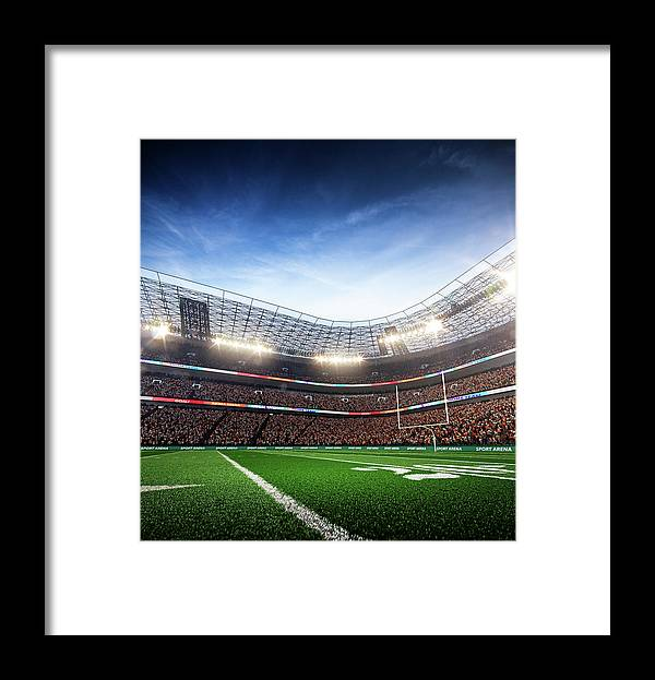 Financial Figures Framed Print featuring the photograph American Football Stadium Arena Vertical by Sarhange1