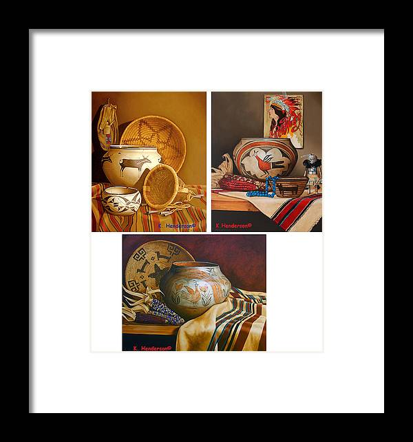 American Indian Framed Print featuring the painting American Indian Pottery By K Henderson by K Henderson