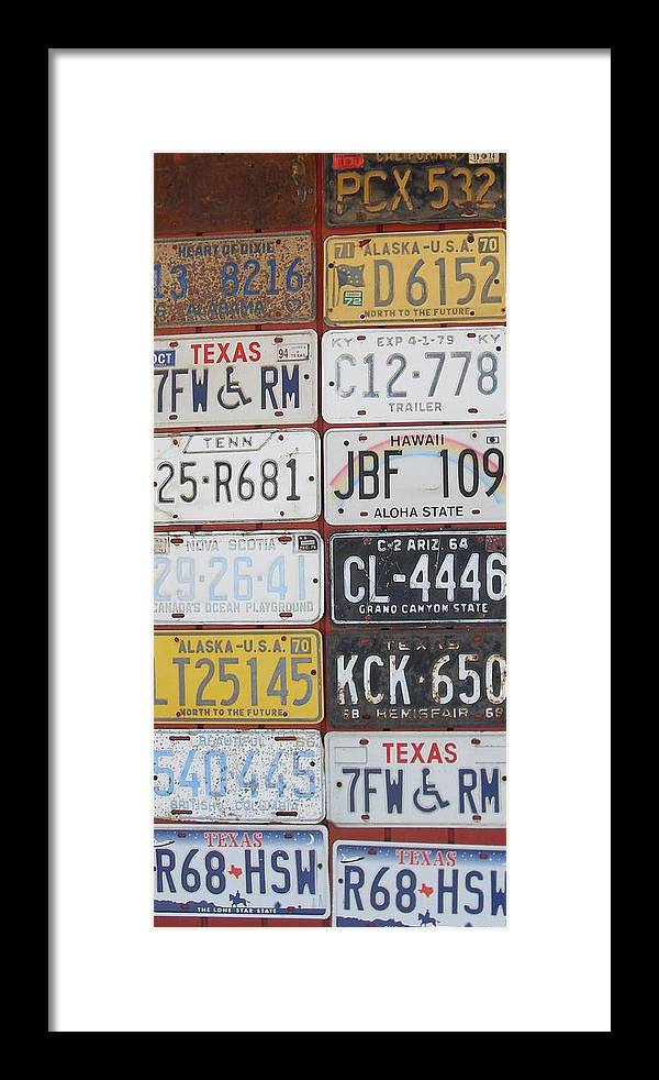 License Plates Framed Print featuring the photograph American License Plates by Donna Wilson