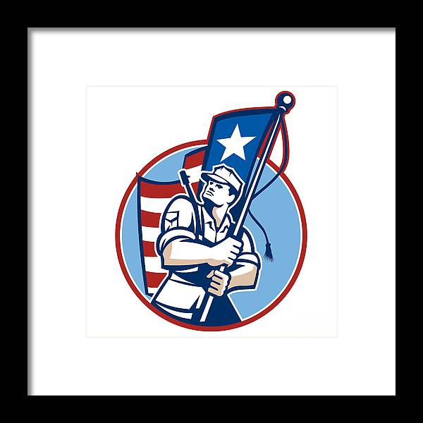 American Framed Print featuring the digital art American Patriot Serviceman Soldier Flag Retro by Aloysius Patrimonio