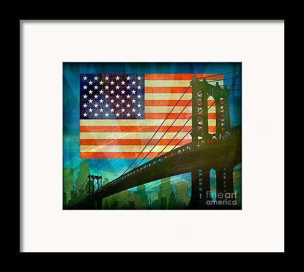 Digital Framed Print featuring the digital art American Pride by Bedros Awak