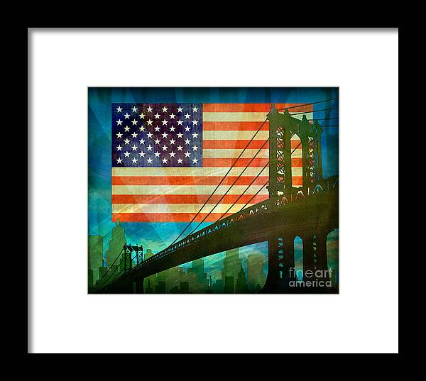 Digital Framed Print featuring the digital art American Pride by Peter Awax