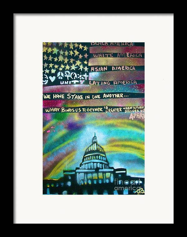 Barack Obama Framed Print featuring the painting American Rainbow by Tony B Conscious