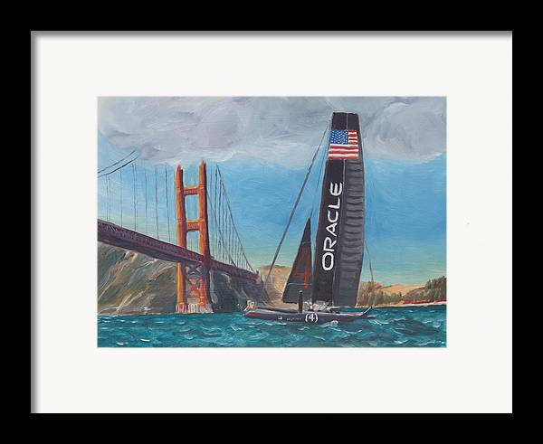 San Francisco Framed Print featuring the painting Americas Cup By The Golden Gate by James Lopez