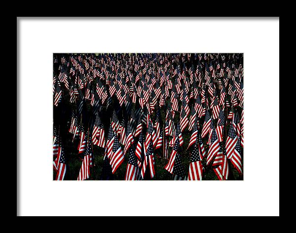 American Flags Framed Print featuring the photograph Field Of Flags - Sturbridge Mass. by Jacqueline M Lewis