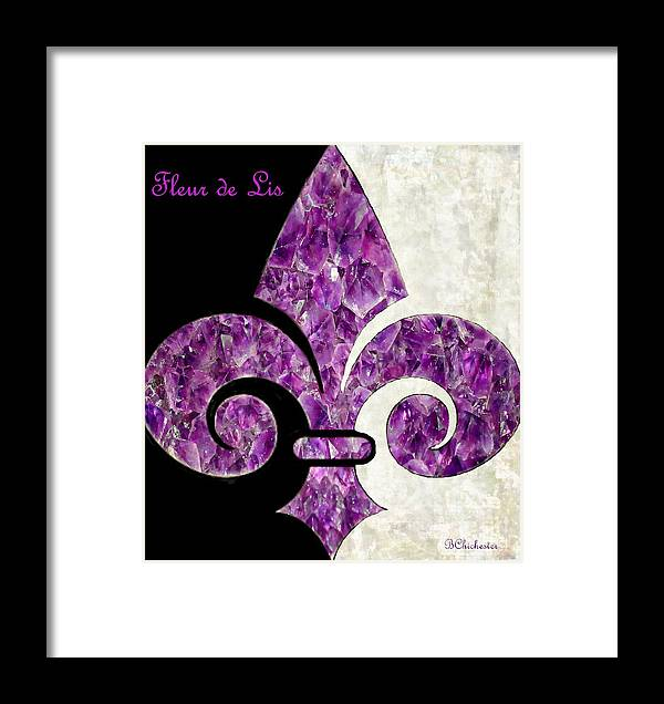 Amethyst Framed Print featuring the painting Amethyst Fleur De Lis by Barbara Chichester