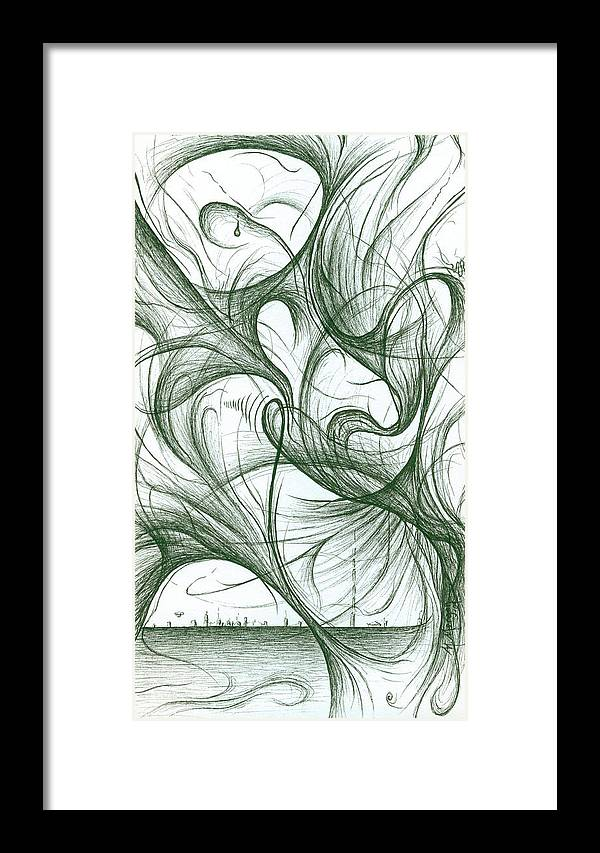 Amidst The Chaos Framed Print featuring the drawing Amidst The Chaos by Michael Morgan