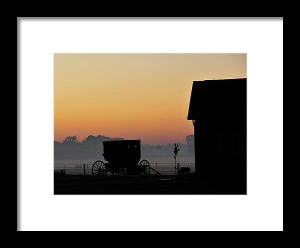 Amish Buggy Framed Print featuring the photograph Amish Buggy Before Dawn by David Arment