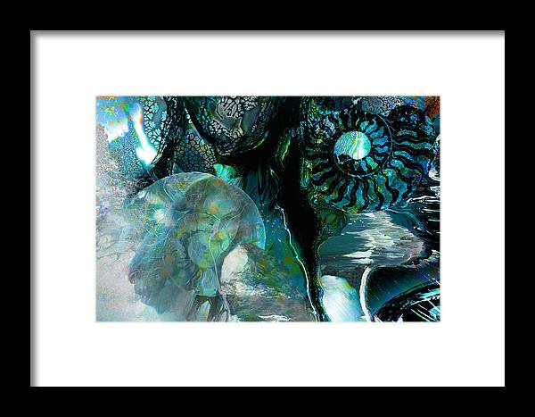 Ocean Framed Print featuring the digital art Ammonite Seascape by Lisa Yount