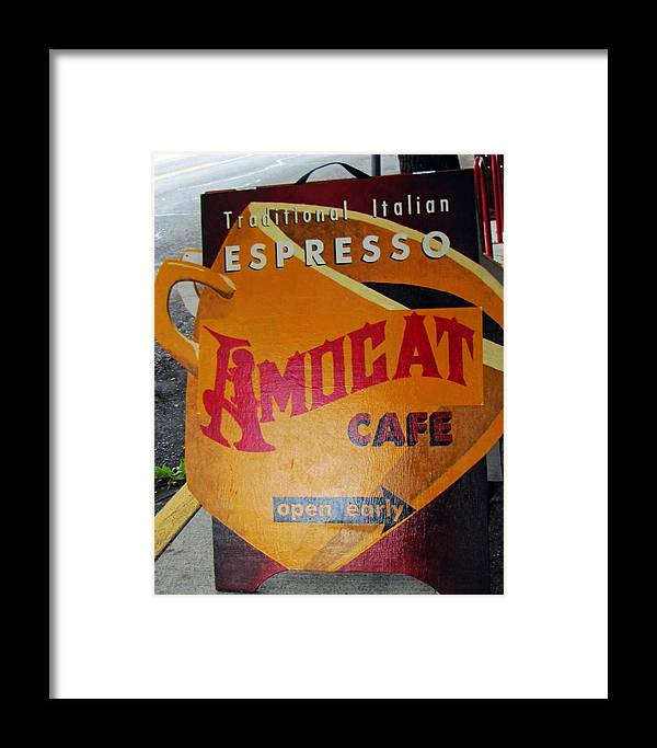 Espresso Framed Print featuring the photograph Amocat Cafe by Tikvah's Hope