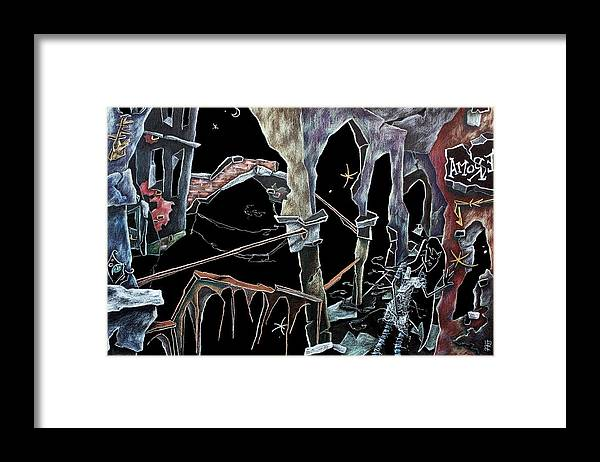 Framed Print featuring the drawing Amore - Dark Fantasy Drawings And Illustration - Dibujo Surrealista by Arte Venezia