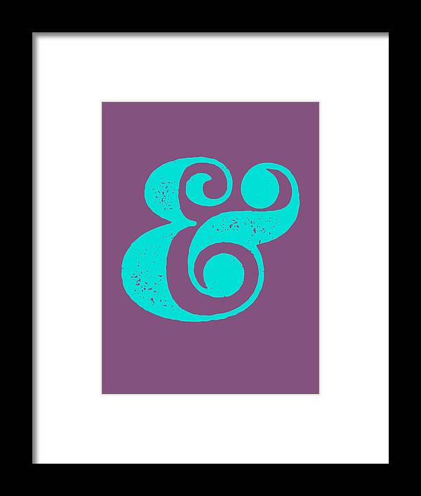 Ampersand Framed Print featuring the digital art Ampersand Poster Purple and Blue by Naxart Studio