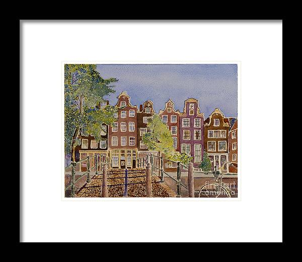 Amsterdam Framed Print featuring the painting Amsterdam by Godwin Cassar