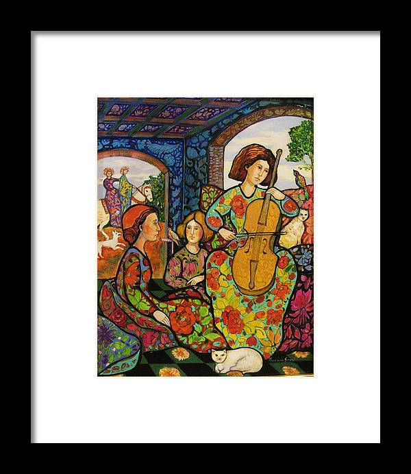Venetian Arcades Framed Print featuring the painting An Afternoon In Colors With Birds by Marilene Sawaf
