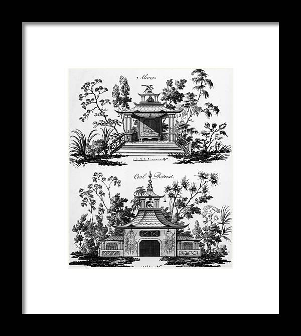 Garden Pavilion; Pagoda; Shelter; Arbour; Folly; Decorative; Chinois; Chinoiserie Framed Print featuring the drawing An Alcove And A Cool Retreat by Paul Decker