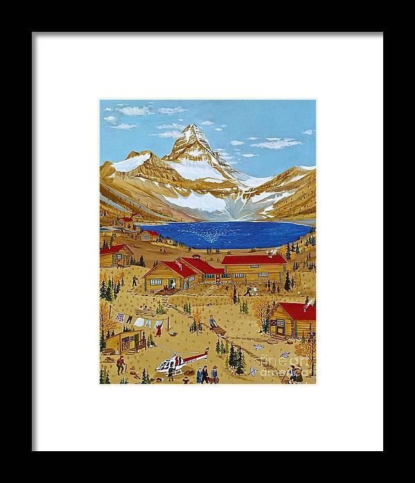Mt Assiniboine Lodge Framed Print featuring the painting An Alpine Autumn by Virginia Ann Hemingson
