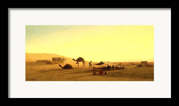 Arab; Encampment; Desert; Camp; Tent; Canopy; Camel; Camels; Dawn; Dusk; Morning; Evening; Sunrise; Sunset; Sundown; Golden; Glow; Nomad; Nomads; Nomadic; Traveller; Travellers; Travel; Camel; Train; Arab; Arabs; Arabian; Arid; Heat; Orientalist; Middle East; Middle Eastern; Sand; Dune; Dunes Framed Print featuring the painting An Arab Encampment by Charles Theodore Frere