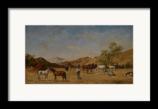 Arabian; Arabia; Middle East; Middle Eastern; Landscape; Desert; Horses; Horse; Mountains; Mountainous; Arid; Wilderness; Camp; Encampment; Travel; Travellers; Tent; Tents; Journey Framed Print featuring the painting An Arabian Camp by Eugene Fromentin