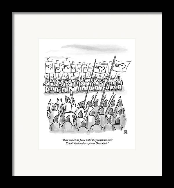 War Framed Print featuring the drawing An Army Lines Up For Battle by Paul Noth