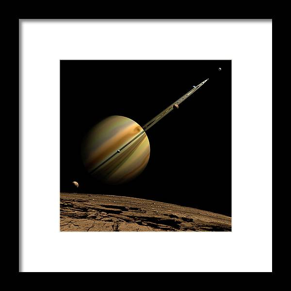Shadow Framed Print featuring the digital art An Artists Depiction Of A Ringed Gas by Marc Ward/stocktrek Images