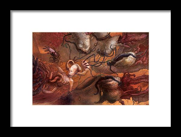 Woman Framed Print featuring the painting An Echo In The Diffusion by Ethan Harris