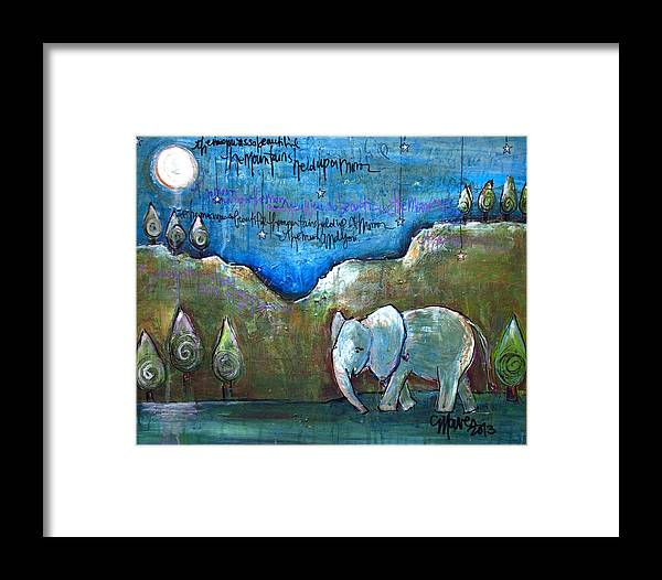 Elephant Framed Print featuring the painting An Elephant For You by Laurie Maves ART