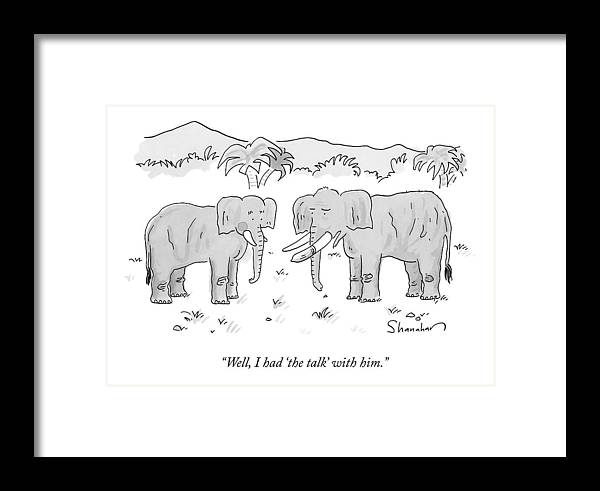 An Elephant With A Condom On One Tusk Speaks Framed Print by Danny ...