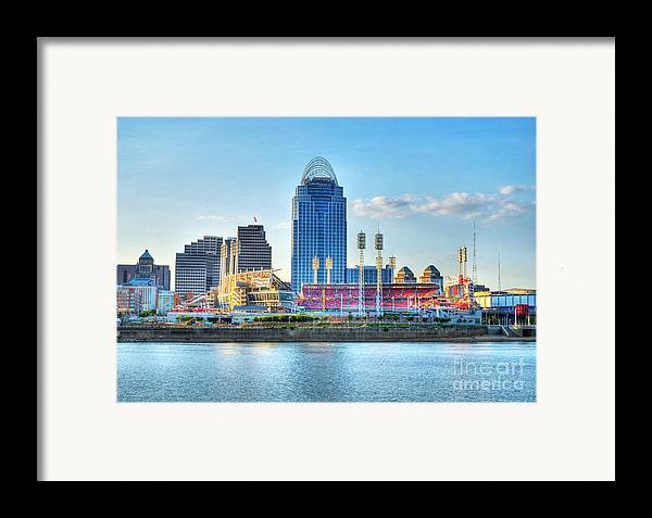 Cincinnati Framed Print featuring the photograph An Evening Game by Mel Steinhauer