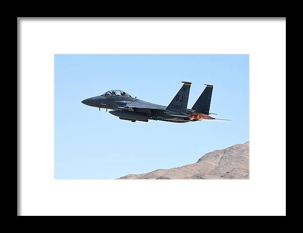 Nevada Framed Print featuring the photograph An F-15e Strike Eagle Taking by Riccardo Niccoli