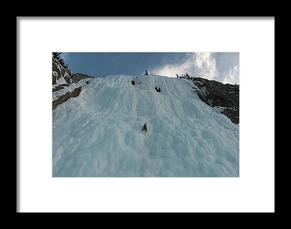 20-24 Years Framed Print featuring the photograph An Ice Climber In The Middle by Alain Denis
