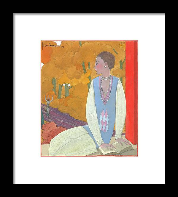 Illustration Framed Print featuring the digital art An Illustration Of A Young Woman For Vogue by Georges Lepape