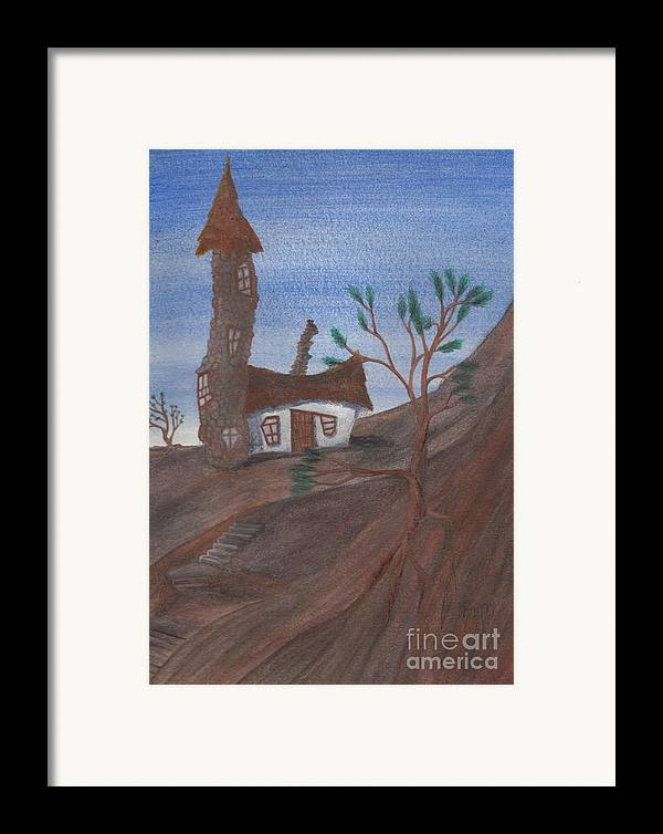 Tower Framed Print featuring the painting An Odd Folly by Robert Meszaros