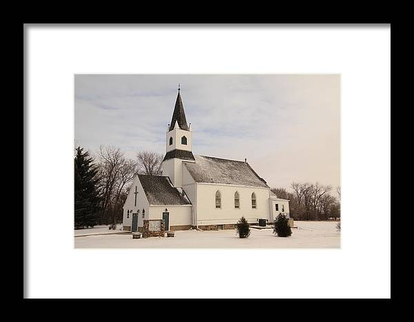 Church Framed Print featuring the photograph An Old Church In Palermo North Dakota by Jeff Swan