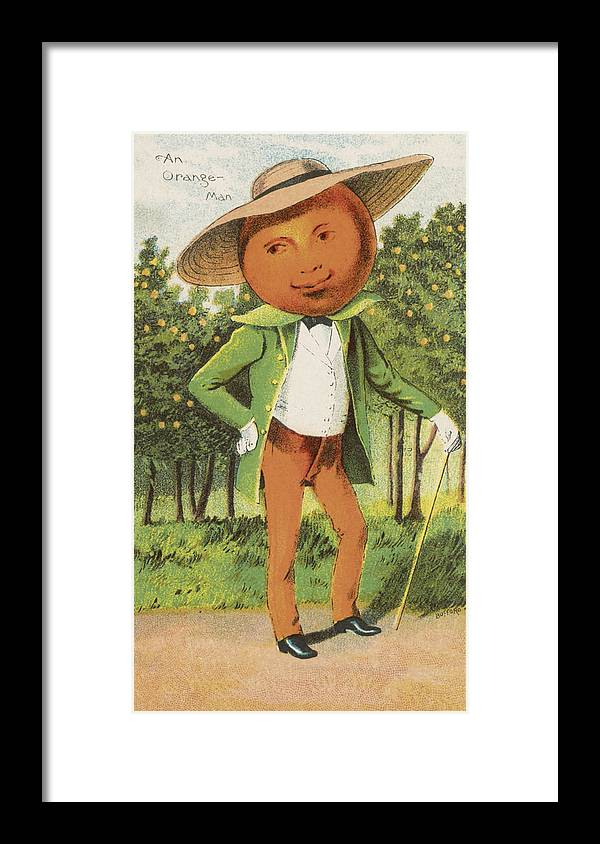 Vintage Framed Print featuring the drawing An Orange Man by Aged Pixel