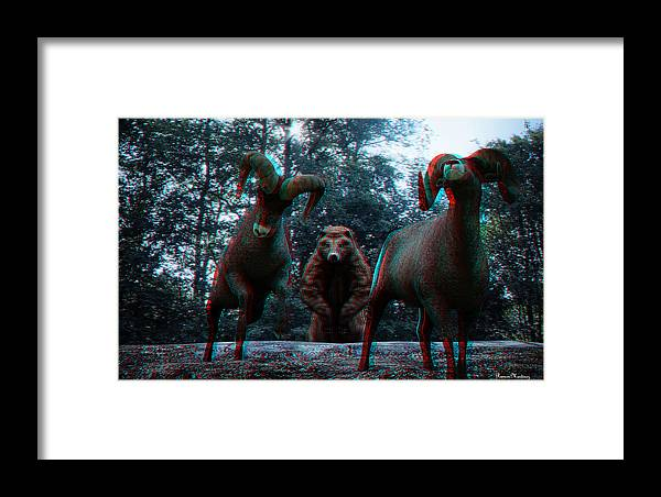 Anaglyph Framed Print featuring the photograph Anaglyph Wild Animals by Ramon Martinez