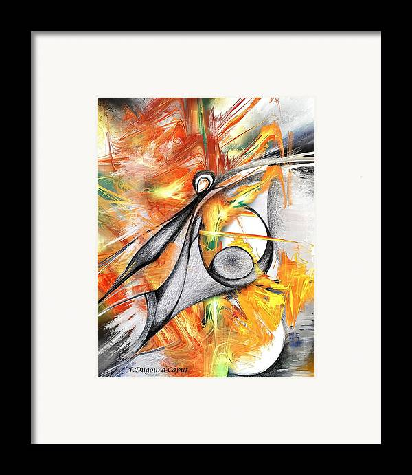 Abstract Framed Print featuring the drawing Anagram by Francoise Dugourd-Caput