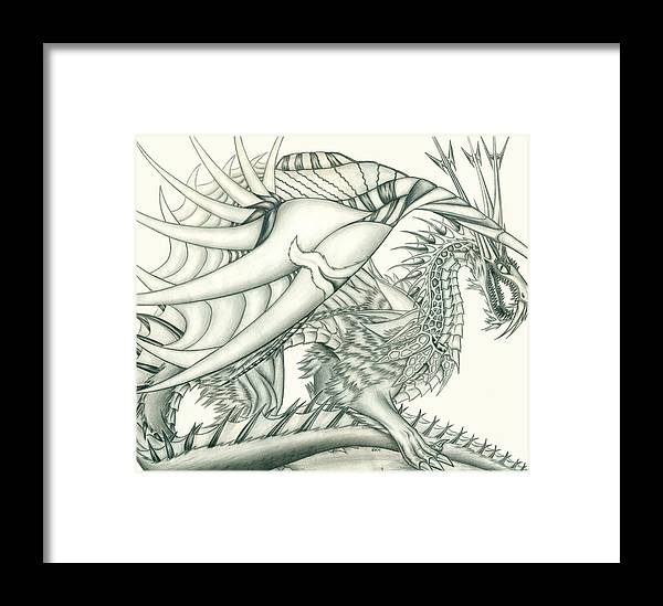 Pencil Work Framed Print featuring the drawing Anare'il The Chaos Dragon by Shawn Dall