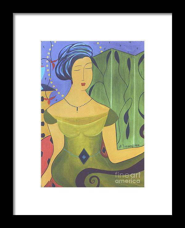 #female Framed Print featuring the painting Ancient Beauty by Jacquelinemari