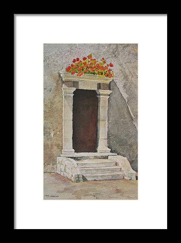 Antique Doorway Framed Print featuring the painting Ancient Doorway by Mary Ellen Mueller Legault